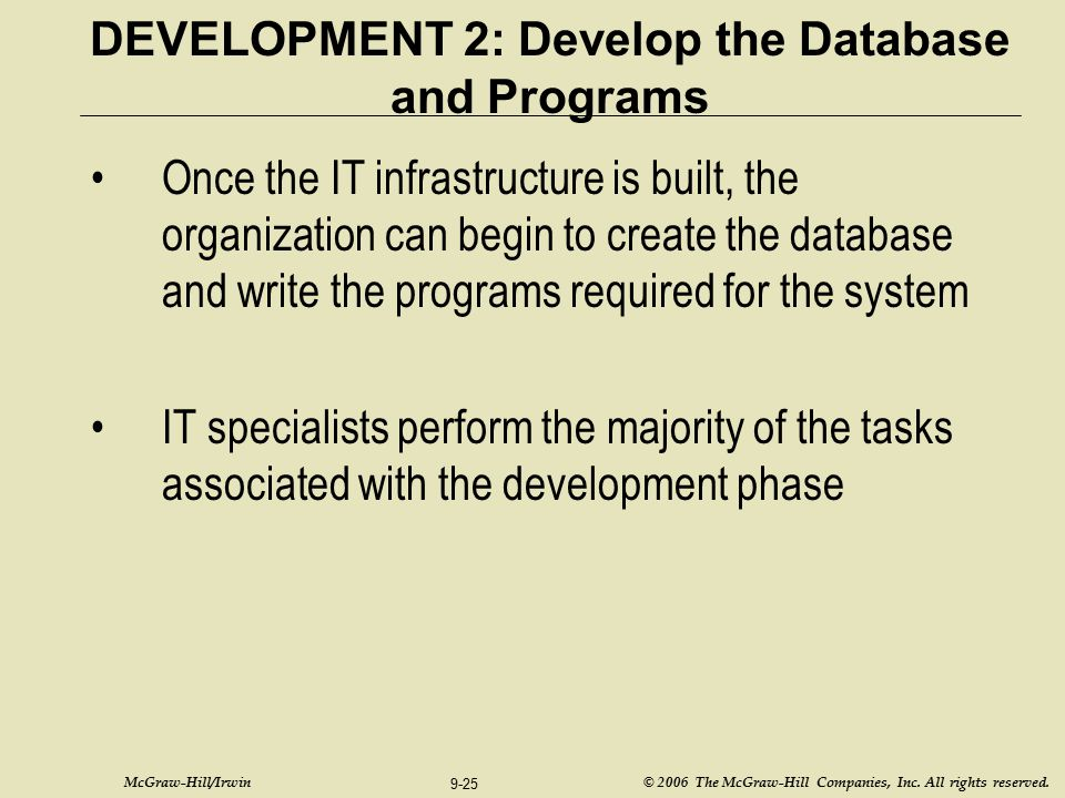 DEVELOPMENT 2: Develop the Database and Programs