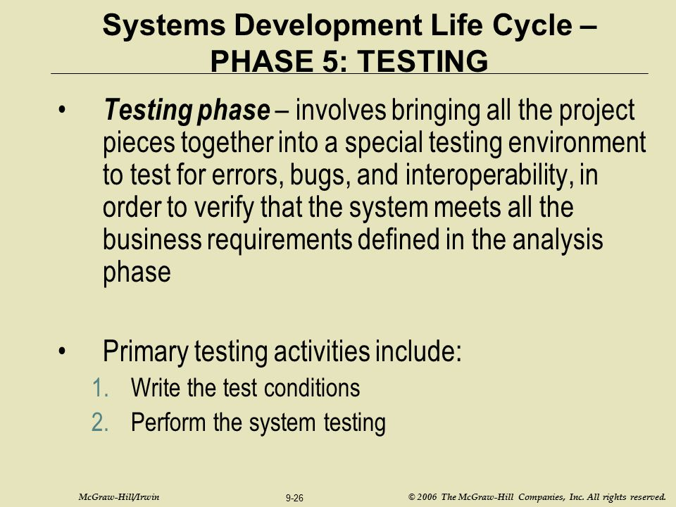 Systems Development Life Cycle – PHASE 5: TESTING