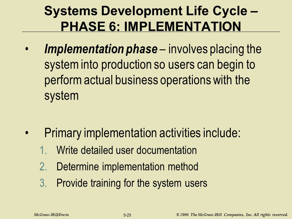 Systems Development Life Cycle – PHASE 6: IMPLEMENTATION