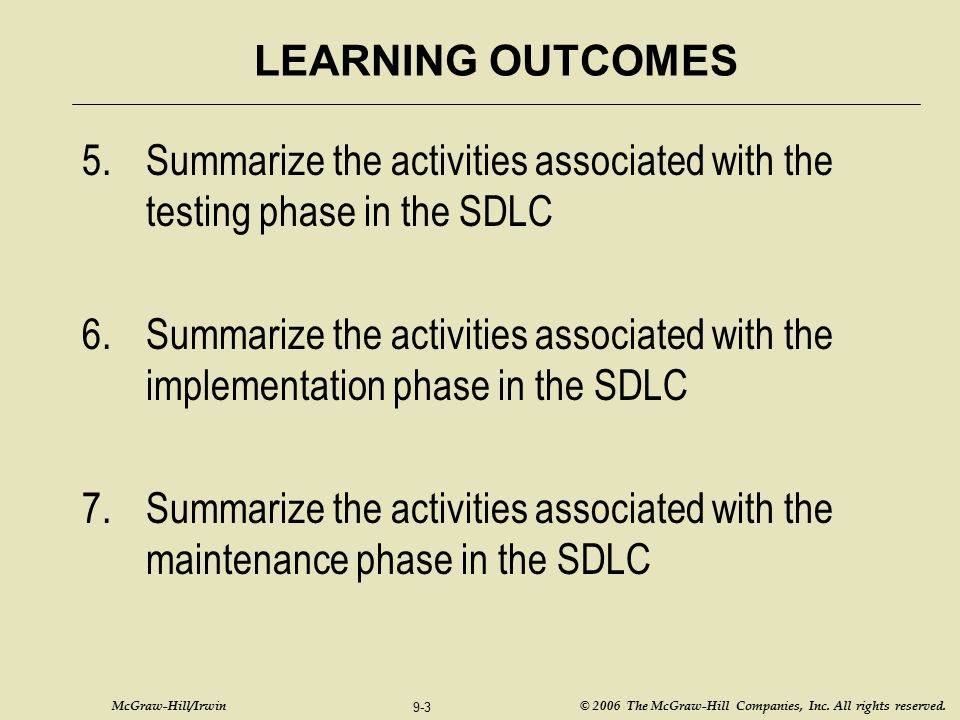 Summarize the activities associated with the testing phase in the SDLC