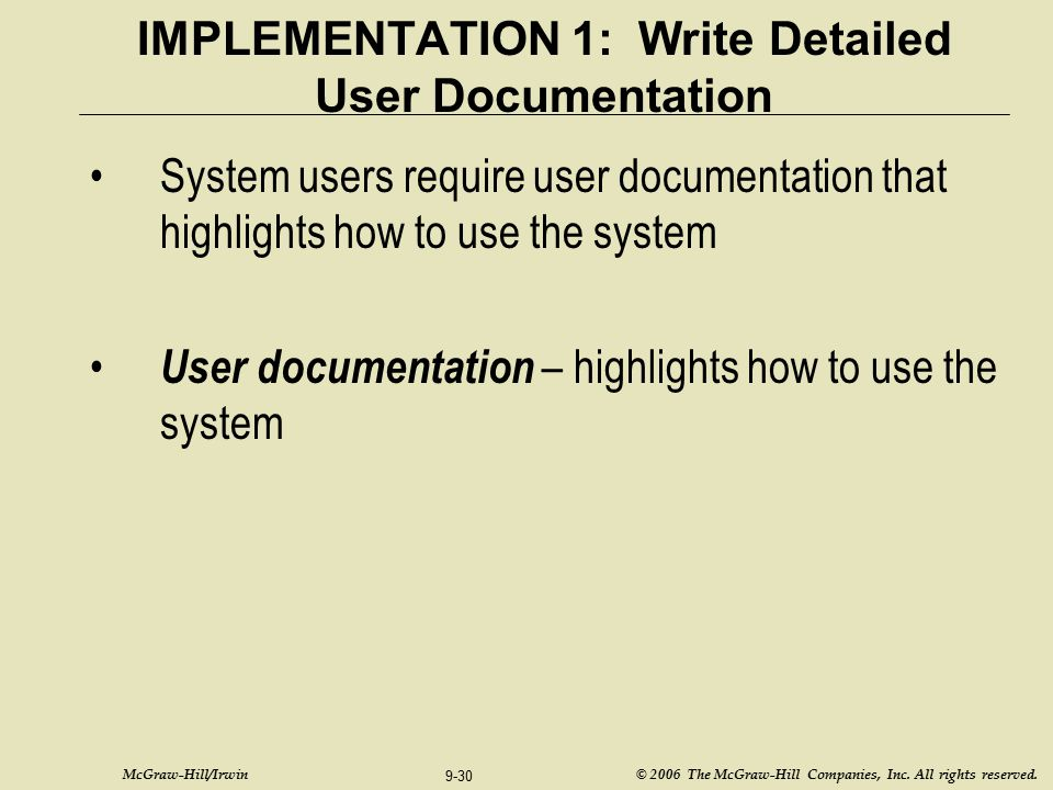 IMPLEMENTATION 1: Write Detailed User Documentation
