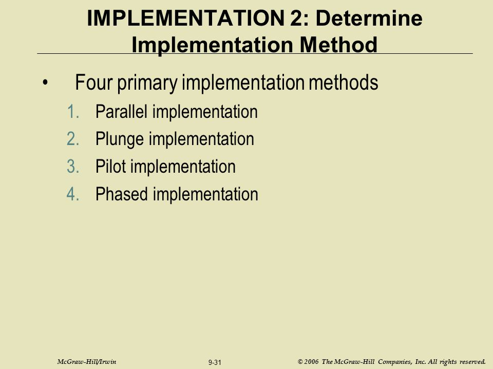 IMPLEMENTATION 2: Determine Implementation Method