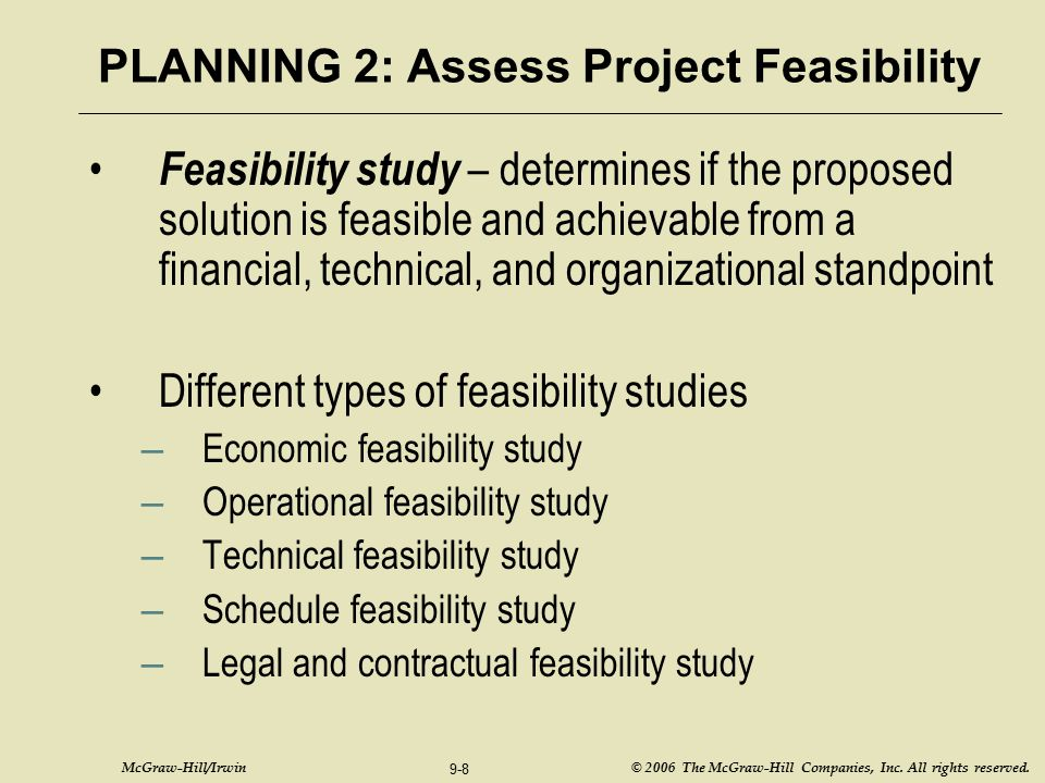 PLANNING 2: Assess Project Feasibility