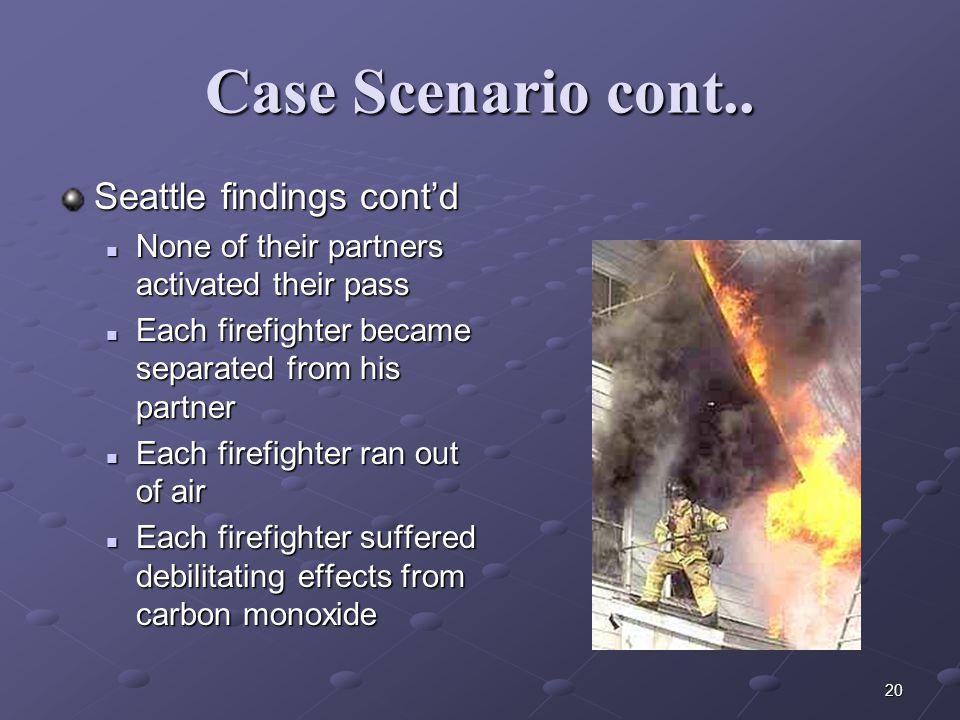 Case Scenario cont.. Seattle findings cont'd