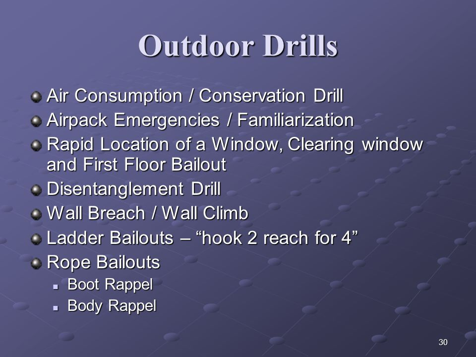 Outdoor Drills Air Consumption / Conservation Drill