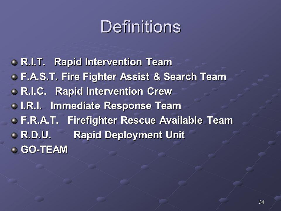 Definitions R.I.T. Rapid Intervention Team