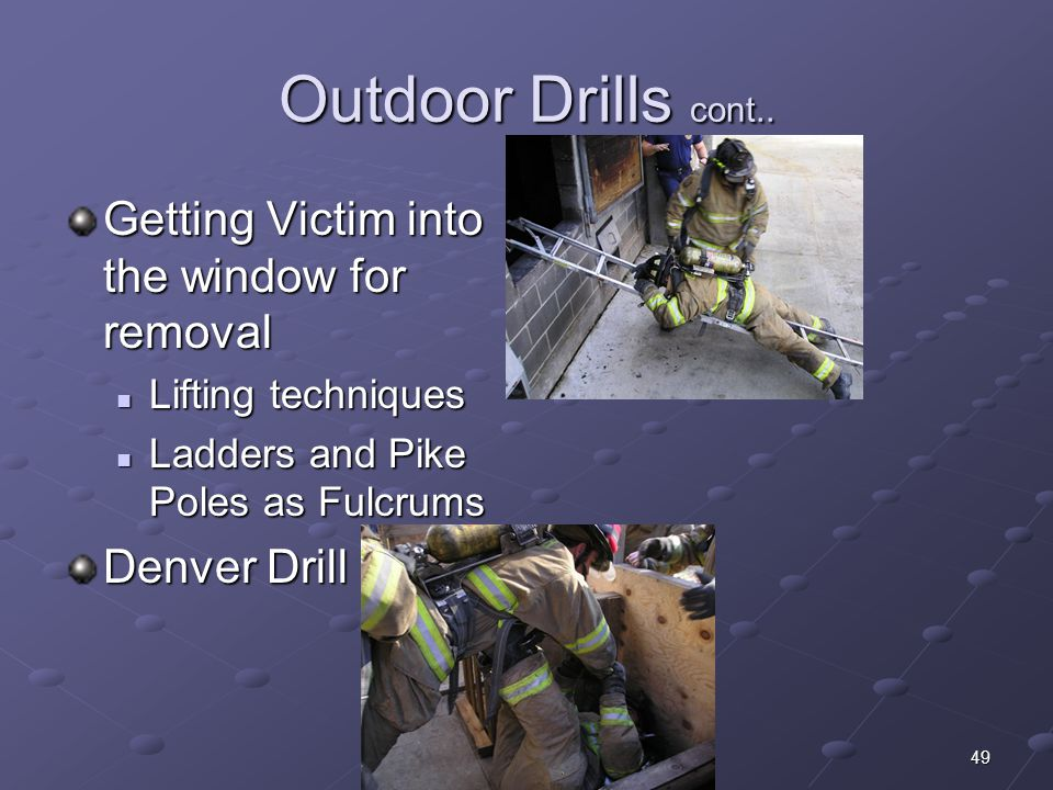 Outdoor Drills cont.. Getting Victim into the window for removal