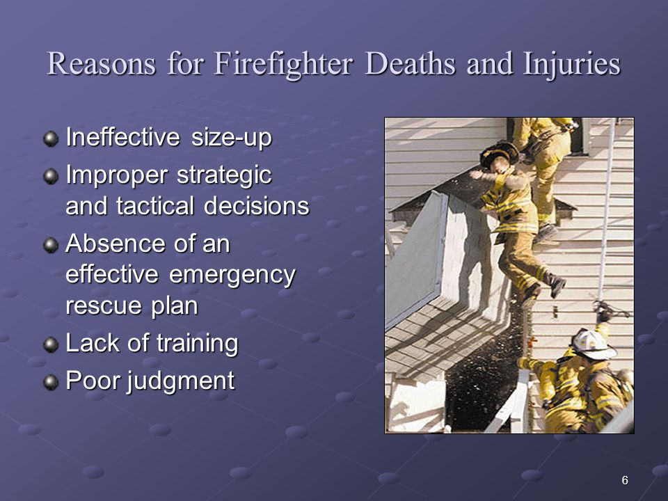 Reasons for Firefighter Deaths and Injuries