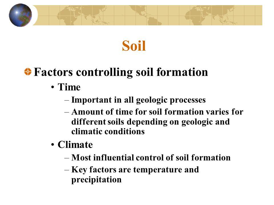 Soil Factors controlling soil formation Time Climate