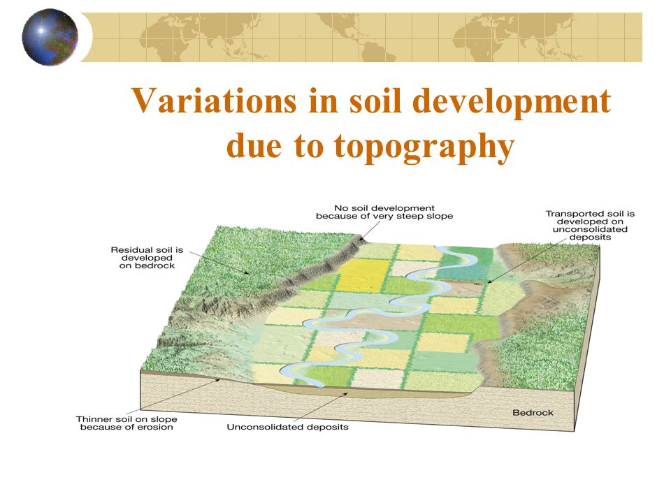 Variations in soil development due to topography