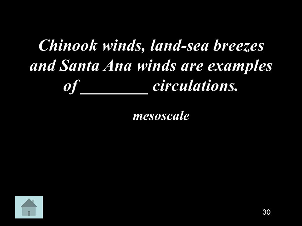 Chinook winds, land-sea breezes and Santa Ana winds are examples of ________ circulations.