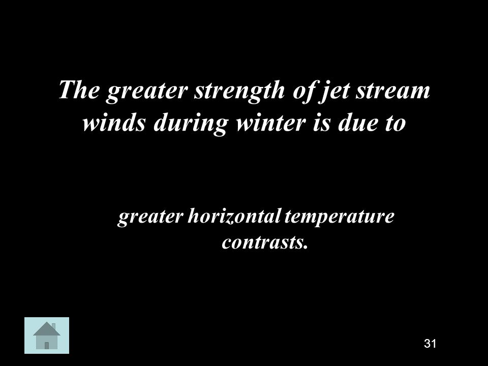 The greater strength of jet stream winds during winter is due to