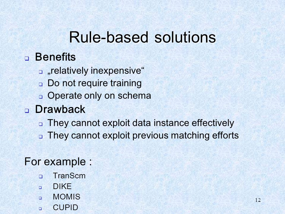 Rule-based solutions Benefits Drawback For example :