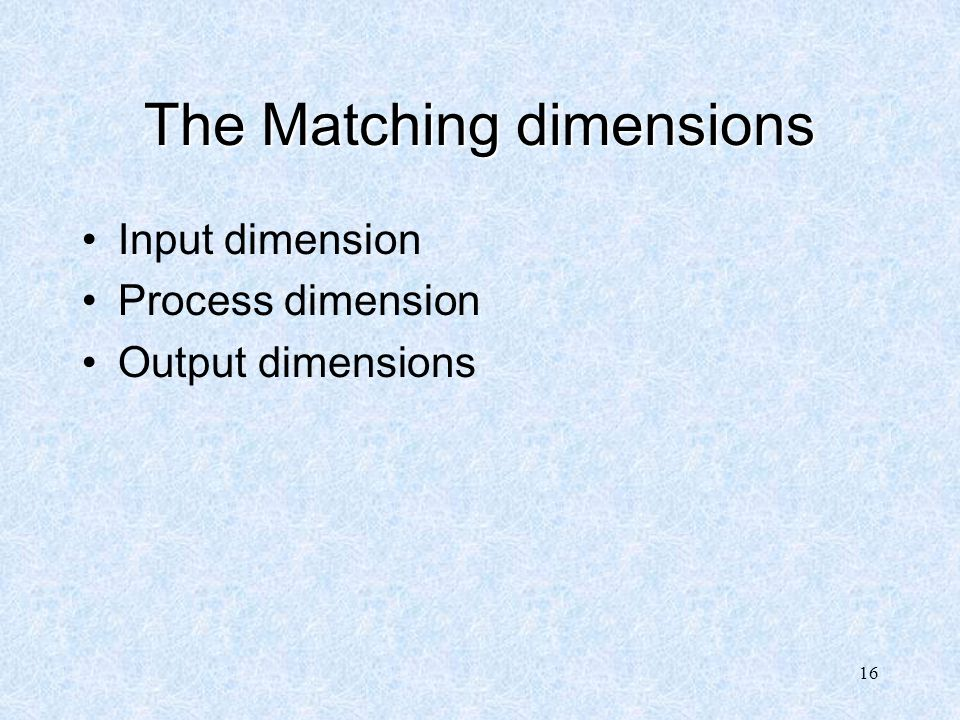 The Matching dimensions