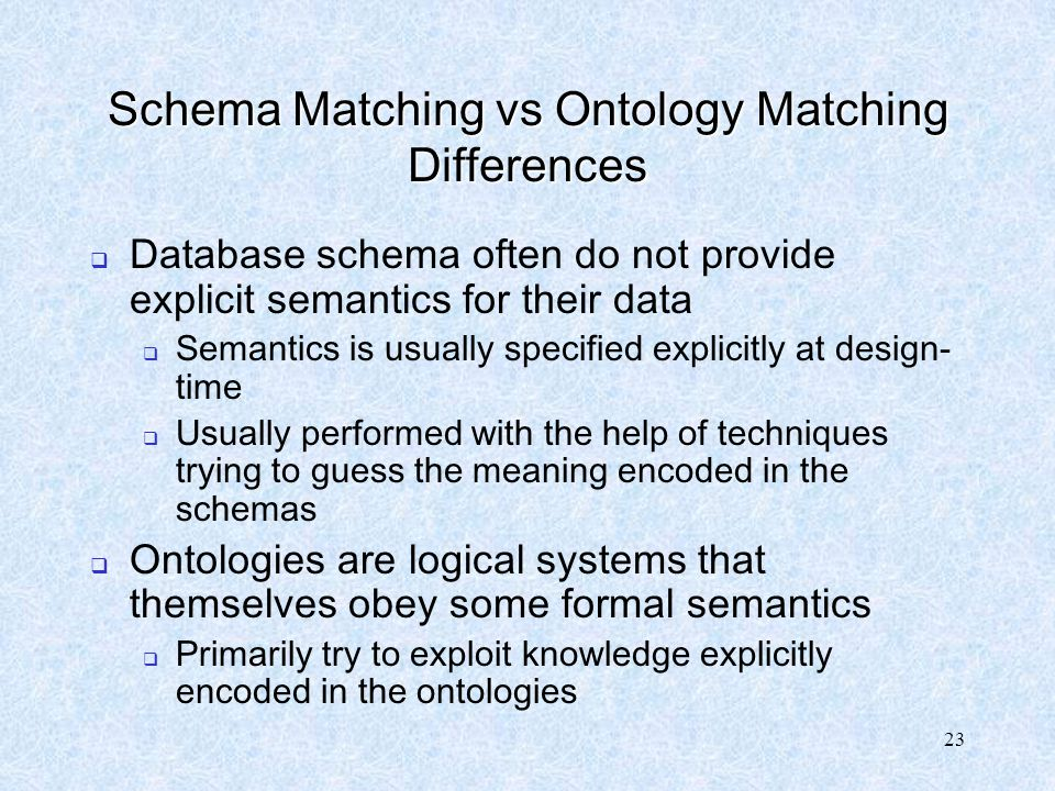 Schema Matching vs Ontology Matching Differences