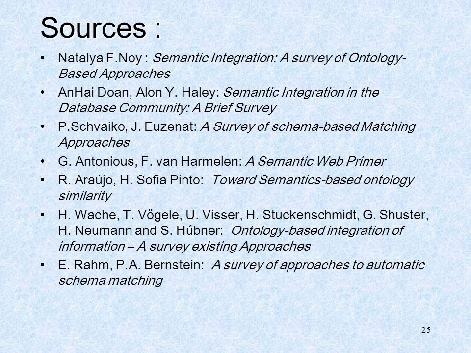 Sources : Natalya F.Noy : Semantic Integration: A survey of Ontology-Based Approaches.