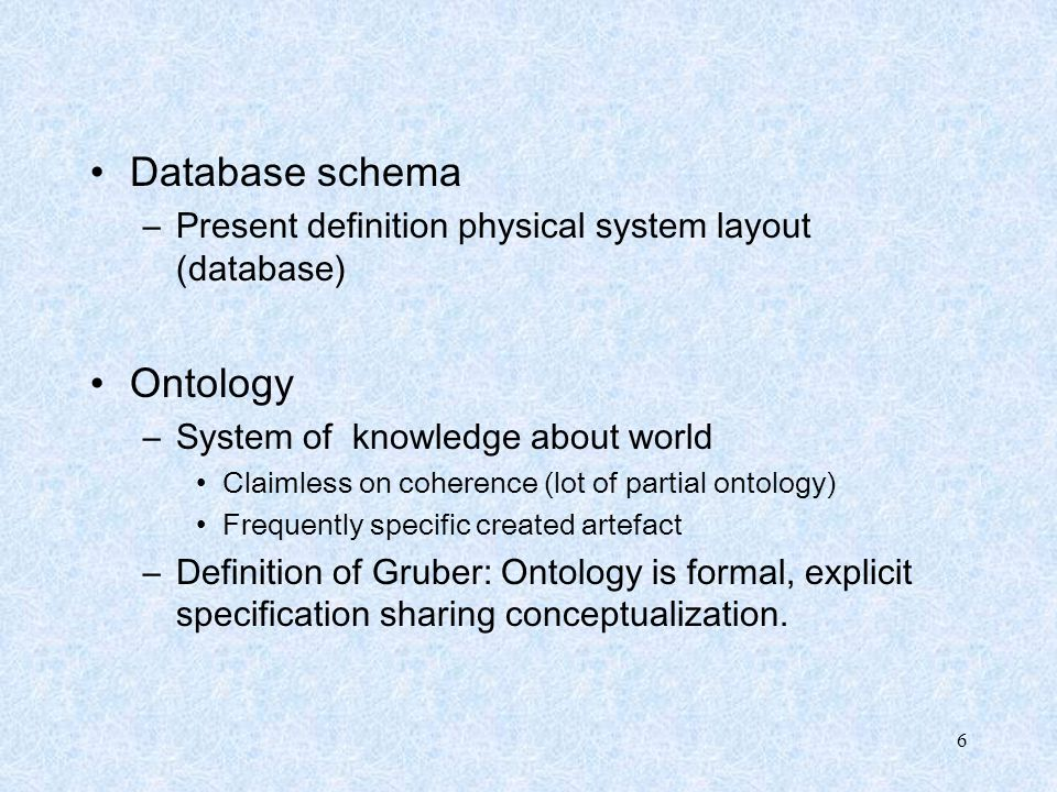 Database schema Ontology