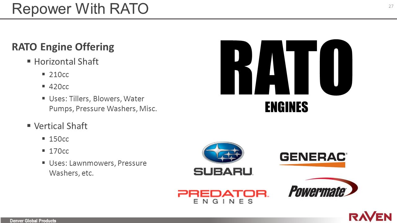 RATO Repower With RATO ENGINES RATO Engine Offering Horizontal Shaft