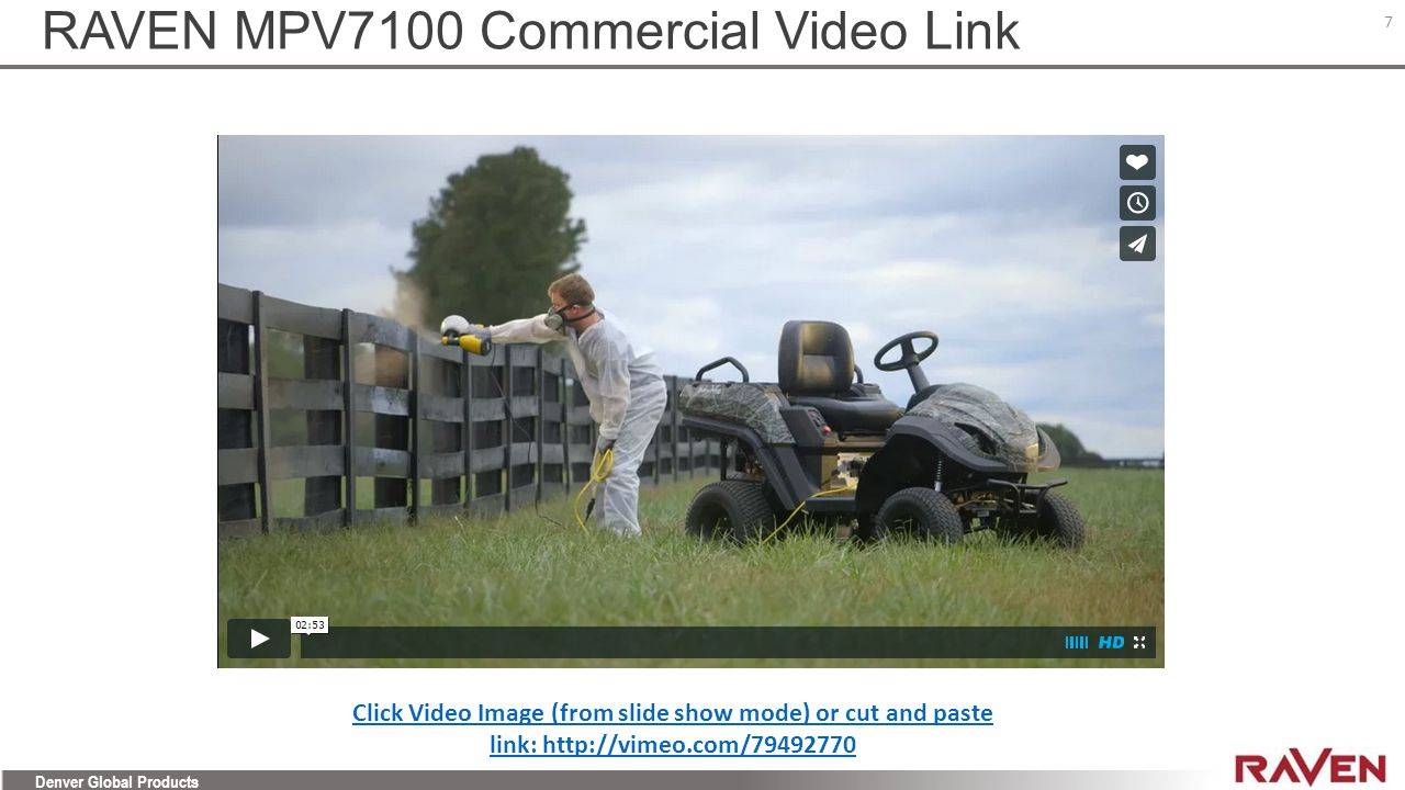 RAVEN MPV7100 Commercial Video Link
