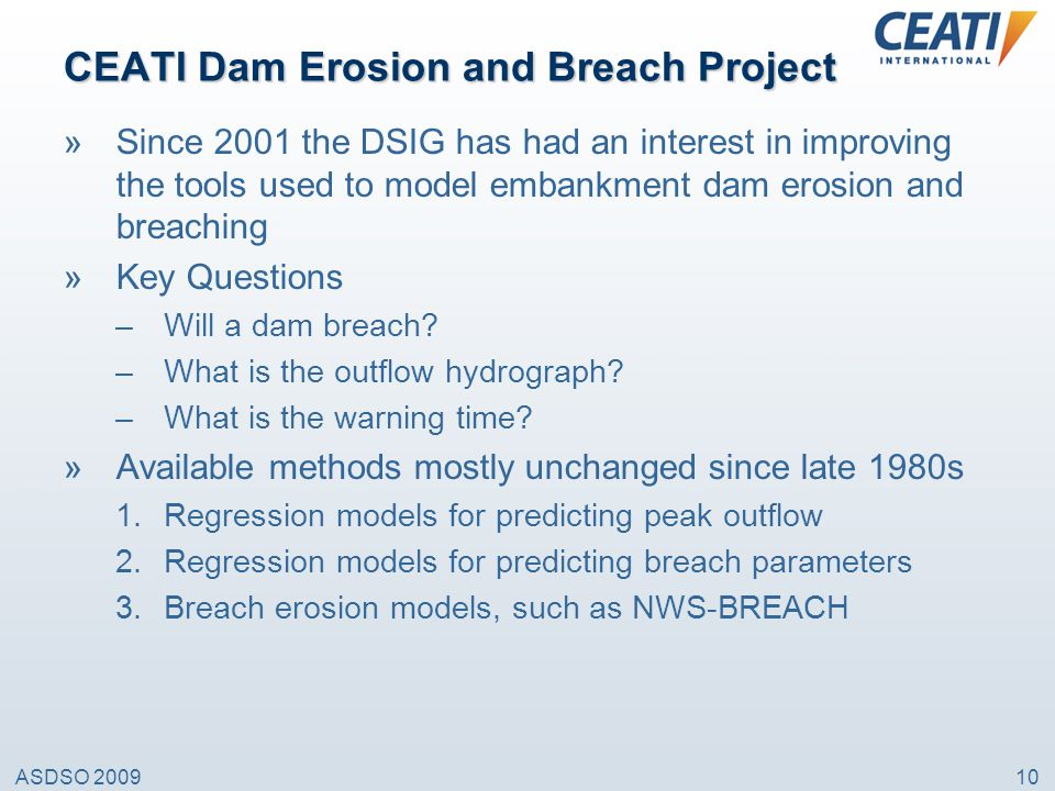CEATI Dam Erosion and Breach Project