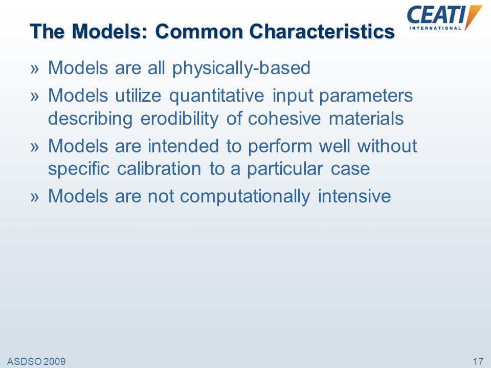 The Models: Common Characteristics