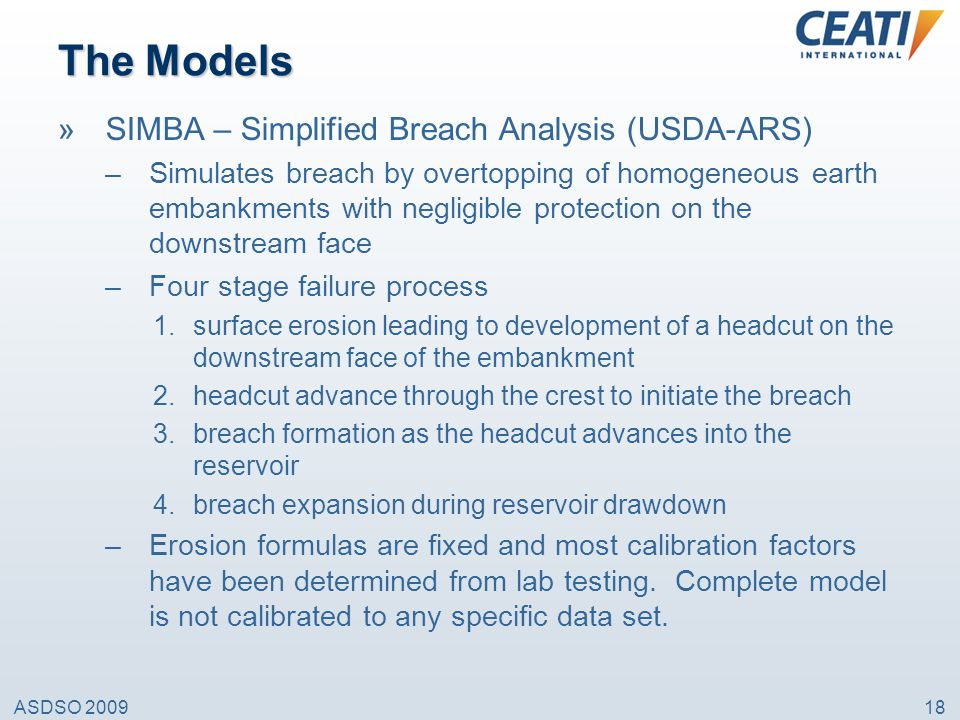 The Models SIMBA – Simplified Breach Analysis (USDA-ARS)