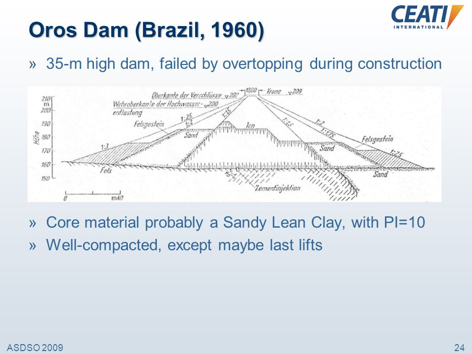 Oros Dam (Brazil, 1960) 35-m high dam, failed by overtopping during construction. Core material probably a Sandy Lean Clay, with PI=10.
