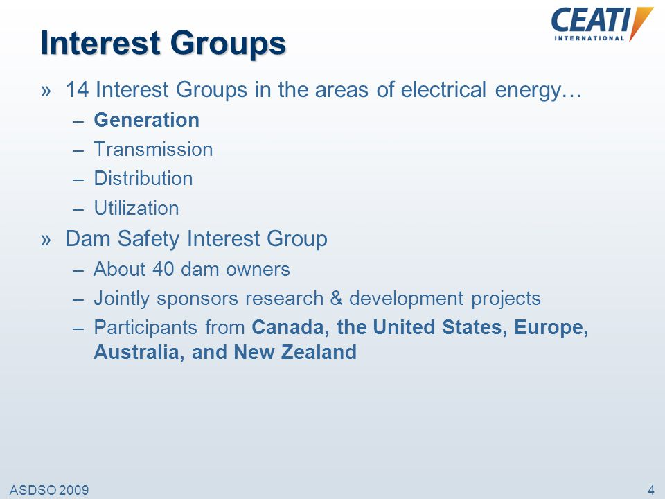 Interest Groups 14 Interest Groups in the areas of electrical energy…