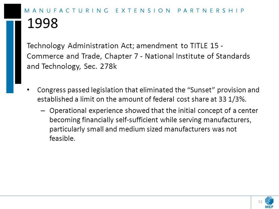 1998 Technology Administration Act; amendment to TITLE 15 - Commerce and Trade, Chapter 7 - National Institute of Standards and Technology, Sec. 278k.