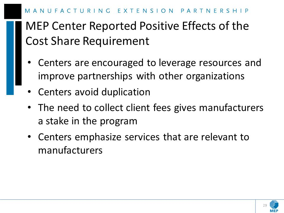 MEP Center Reported Positive Effects of the Cost Share Requirement