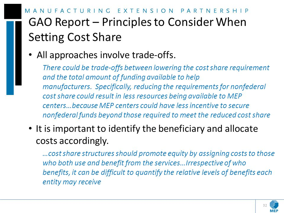 GAO Report – Principles to Consider When Setting Cost Share