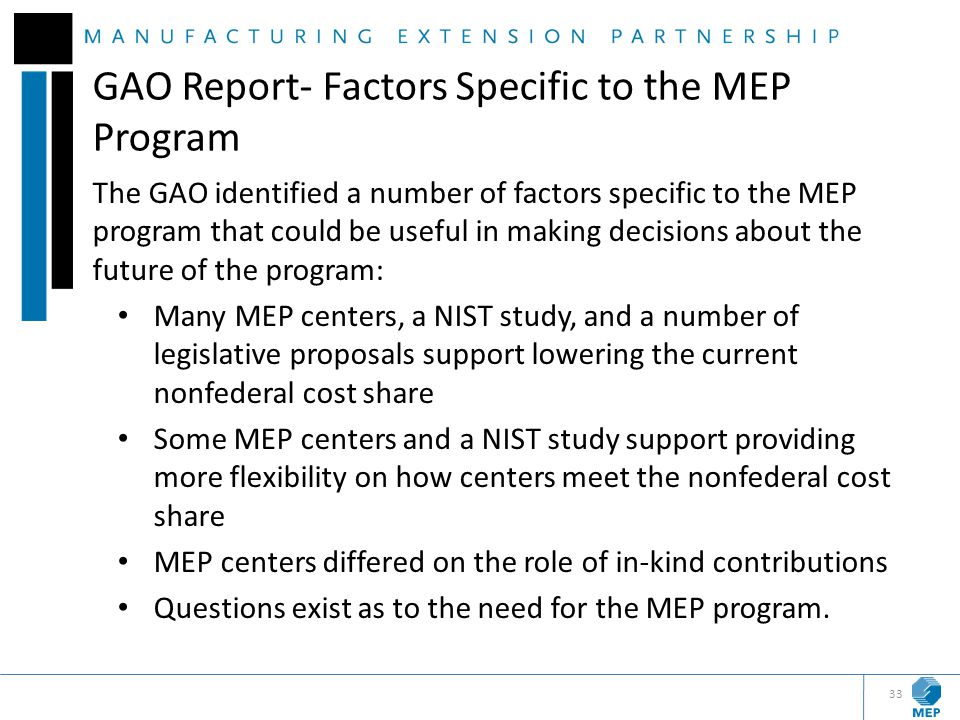 GAO Report- Factors Specific to the MEP Program