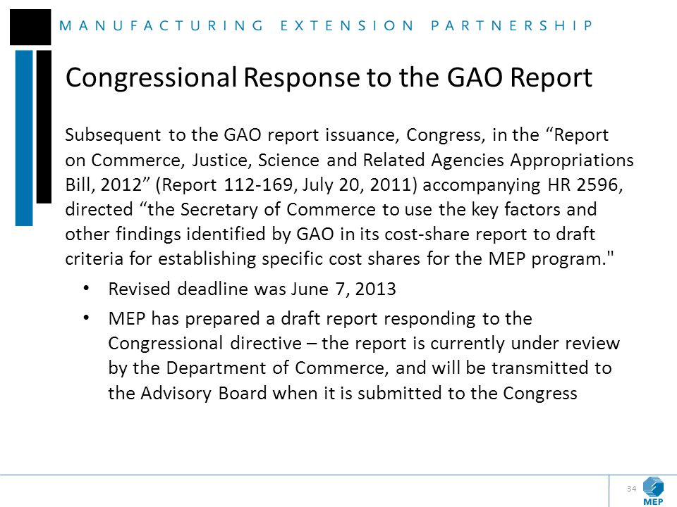 Congressional Response to the GAO Report