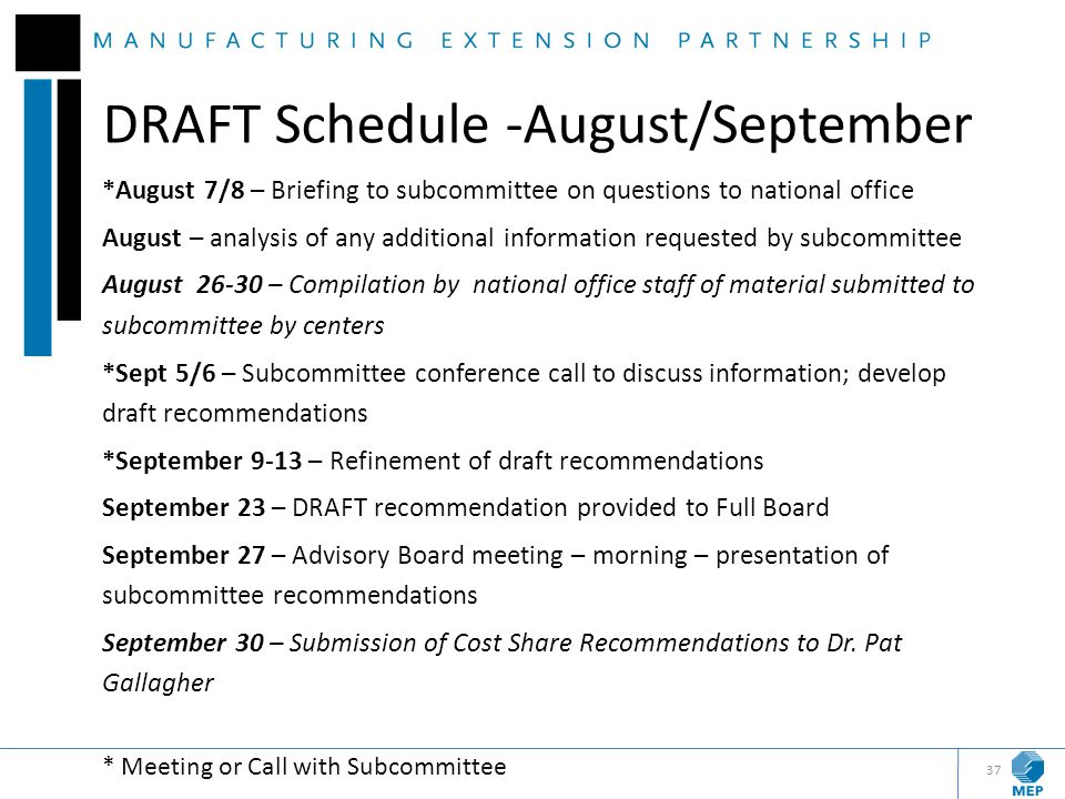 DRAFT Schedule -August/September