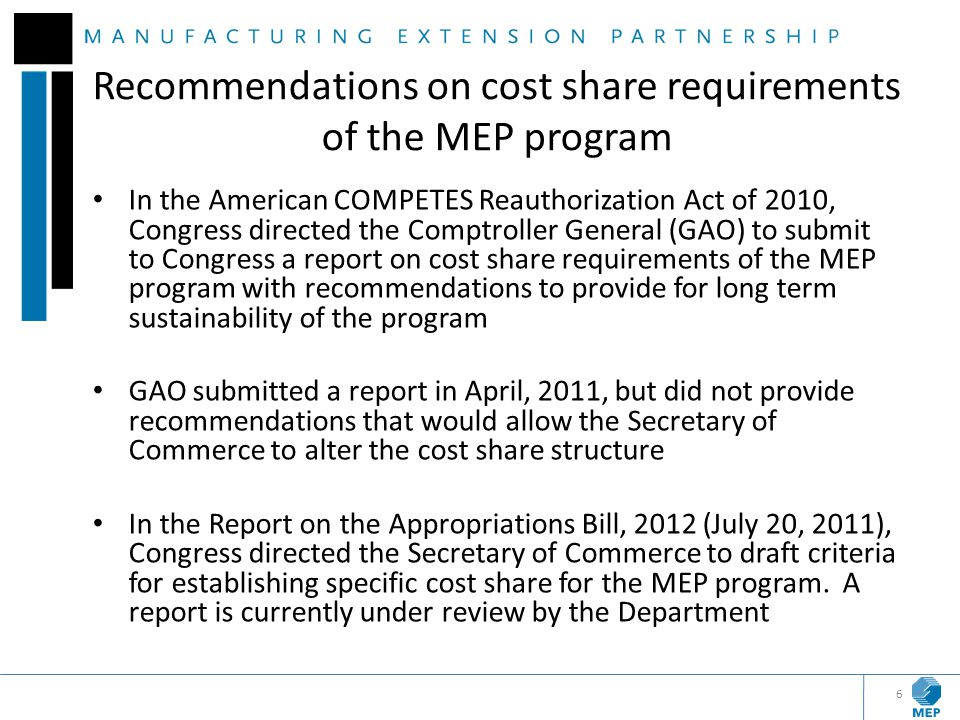 Recommendations on cost share requirements of the MEP program