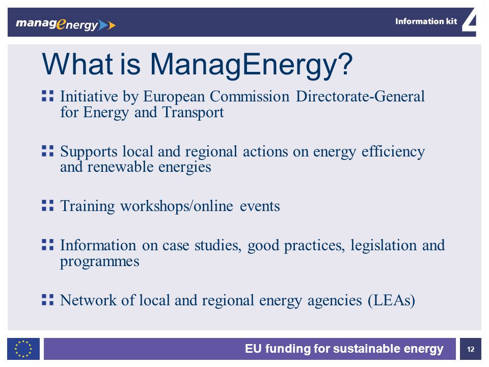 What is ManagEnergy Initiative by European Commission Directorate-General for Energy and Transport.