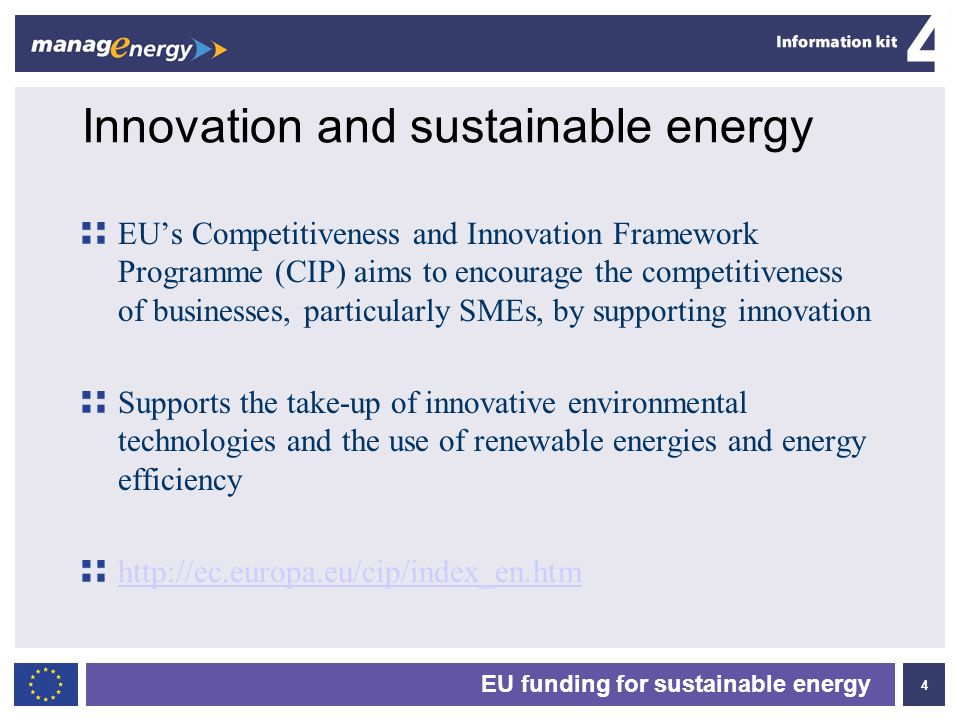 Innovation and sustainable energy
