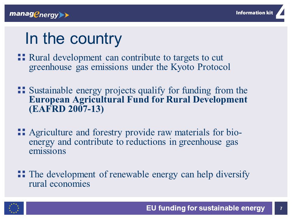 In the country Rural development can contribute to targets to cut greenhouse gas emissions under the Kyoto Protocol.
