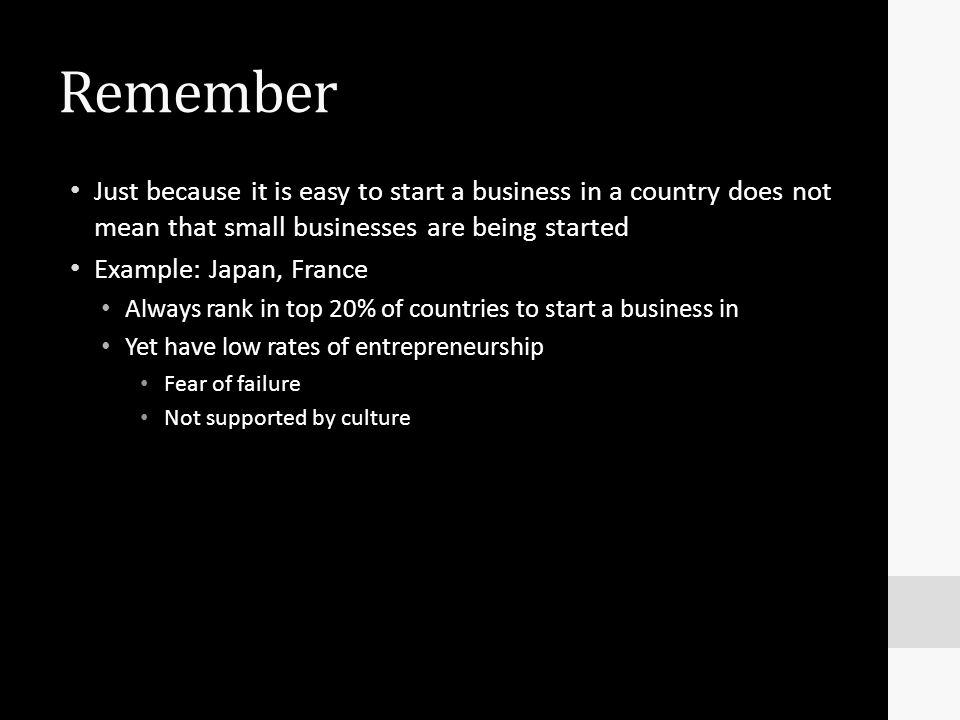 Remember Just because it is easy to start a business in a country does not mean that small businesses are being started.