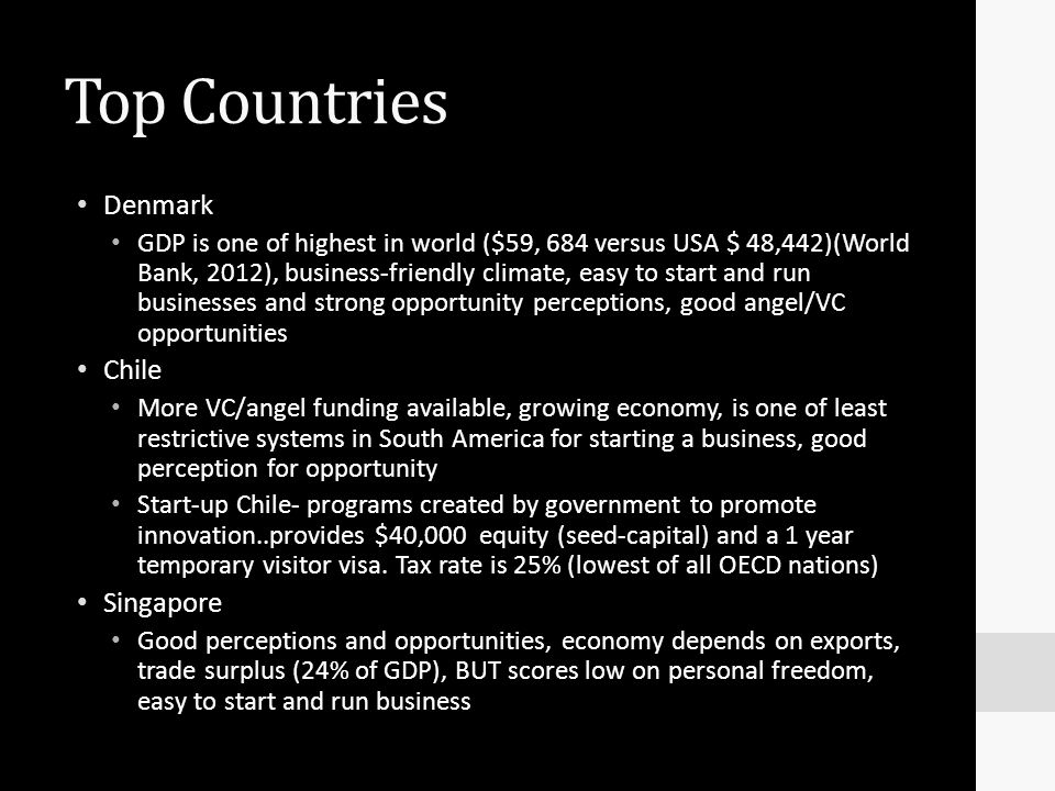 Top Countries Denmark Chile Singapore