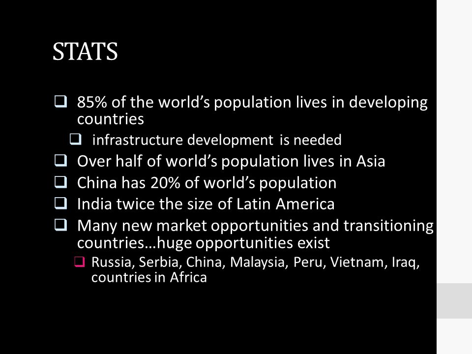 STATS 85% of the world's population lives in developing countries