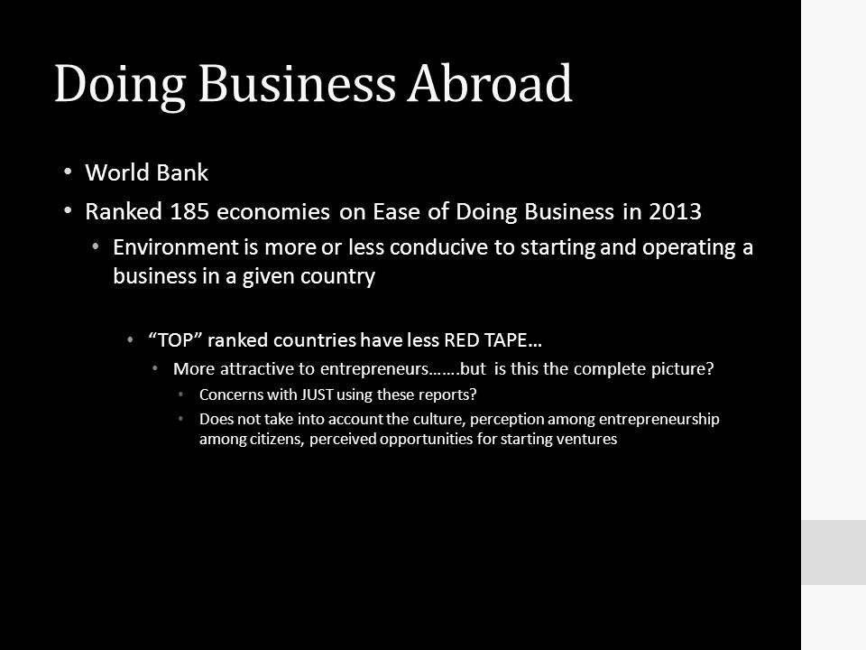 Doing Business Abroad World Bank