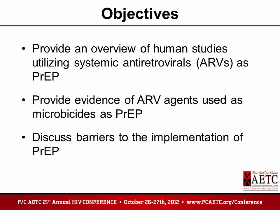 Objectives Provide an overview of human studies utilizing systemic antiretrovirals (ARVs) as PrEP.
