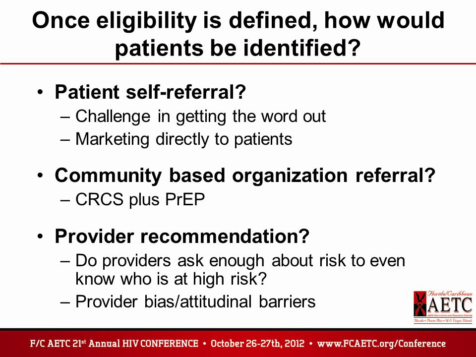 Once eligibility is defined, how would patients be identified