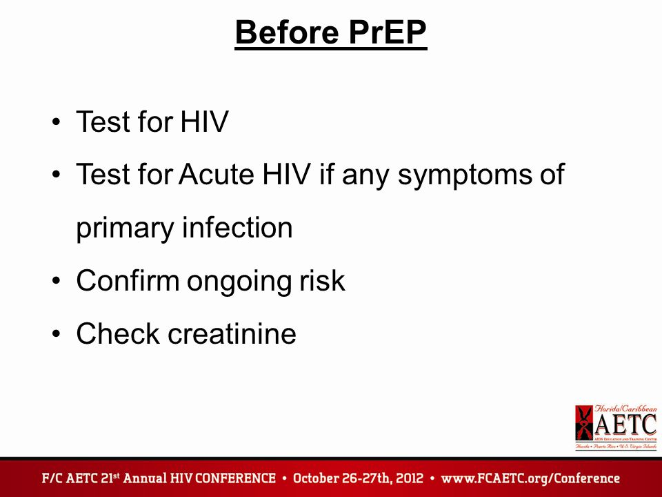 Before PrEP Test for HIV