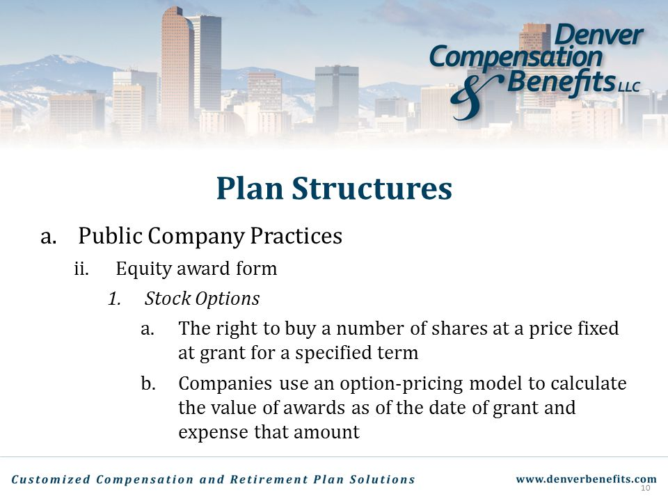 Plan Structures Public Company Practices Equity award form