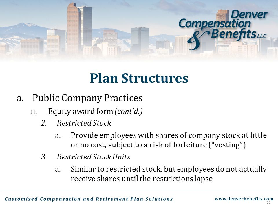 Plan Structures Public Company Practices Equity award form (cont'd.)