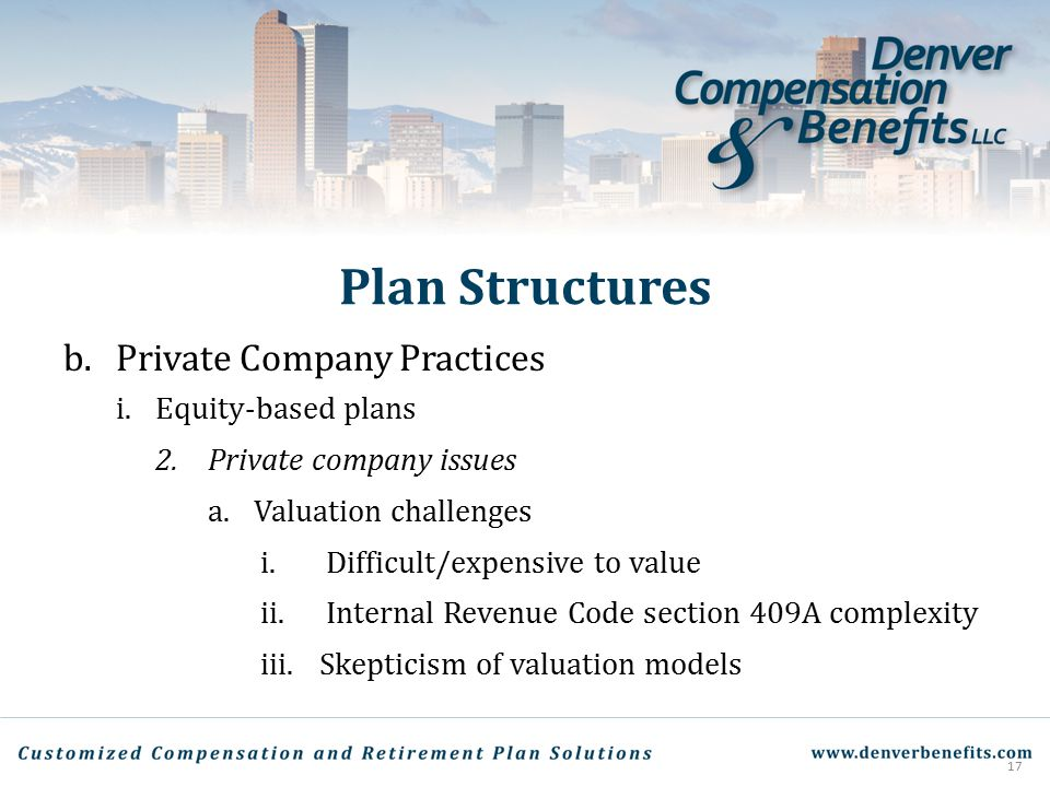 Plan Structures Private Company Practices Equity-based plans