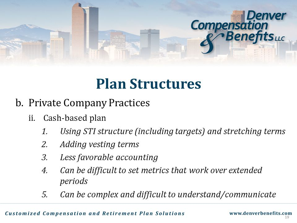 Plan Structures Private Company Practices Cash-based plan