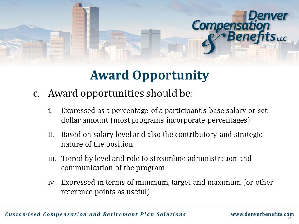 Award Opportunity c. Award opportunities should be: